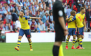 Arsenal's Francis Coquelin celebrates arsenal's 2nd goal during the The FA Cup match between Arsenal and Aston Villa at Wembley Stadium, London, England on 30 May 2015. Photo by Phil Duncan.