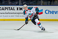 KELOWNA, CANADA - JANUARY 9:  Kaedan Korczak #6 of the Kelowna Rockets warms up against the Everett Silvertips on January 9, 2019 at Prospera Place in Kelowna, British Columbia, Canada.  (Photo by Marissa Baecker/Shoot the Breeze)