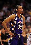 June 4, 2010; Phoenix, AZ, USA; Los Angeles Sparks forward Tina Thompson reacts during a free throw during the first half against the Phoenix Mercury at US Airways Center.  The Mercury defeated the Sparks 90-89.  Mandatory Credit: Jennifer Stewart-US PRESSWIRE