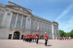 June 27, 2017 - London, London, United Kingdom - Image licensed to i-Images Picture Agency. 26/06/2017. London, United Kingdom. Captain Megan Couto of the 2nd Battalion, Princess Patricia's Canadian Light Infantry, makes history as she becomes the first woman to command the Queen's Guard at Buckingham Palace in London. Picture by ROTA / i-Images  UK OUT FOR 28 DAYS (Credit Image: © Rota/i-Images via ZUMA Press)