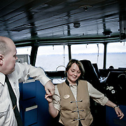 Three weeks aboard the Kong Harald. Hurtigruten, the Coastal Express. The bridge of the Kong Harald. The security officer and a waitress are having a dance on the bridge.