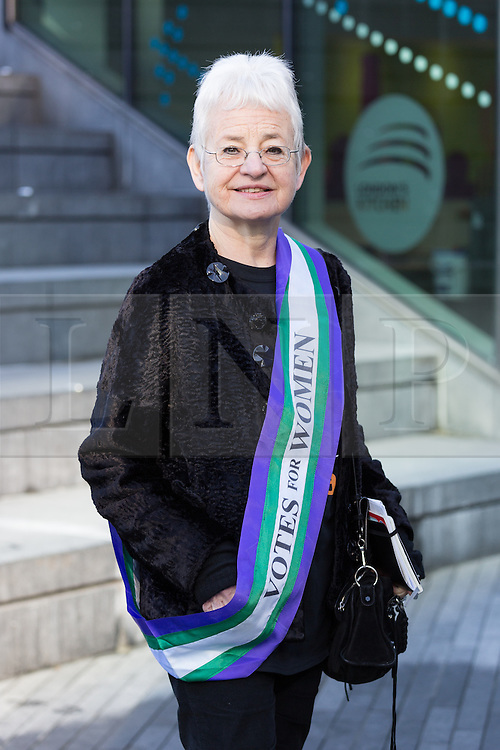 """© Licensed to London News Pictures. 08/03/2015. London, UK. Jacqueline Wilson at the """"Walk In Her Shoes"""" event to mark International Women's Day at The Scoop amphitheatre on the south bank in London. Photo credit : Vickie Flores/LNP"""
