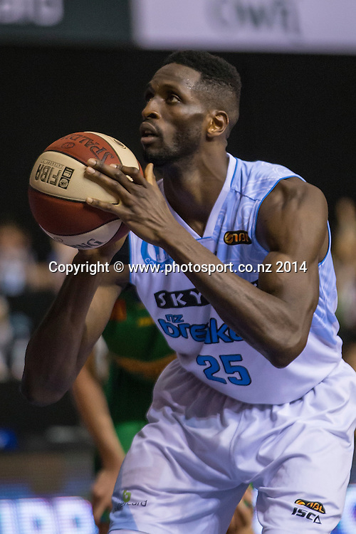 Breakers` Ekene Ibekwe in the game between SkyCity Breakers v Townsville Crocodiles. 2014/15 ANBL Basketball Season. North Shore Events Centre, Auckland, New Zealand, Friday, December 19, 2014. Photo: David Rowland/Photosport