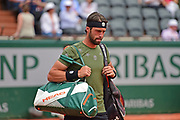 Nikoloz Basilashvili (GEO) arrives on court during the preliminary rounds of the Roland Garros Tennis Open 2017 at  at Roland Garros Stadium, Paris, France on 2 June 2017. Photo by Jon Bromley.