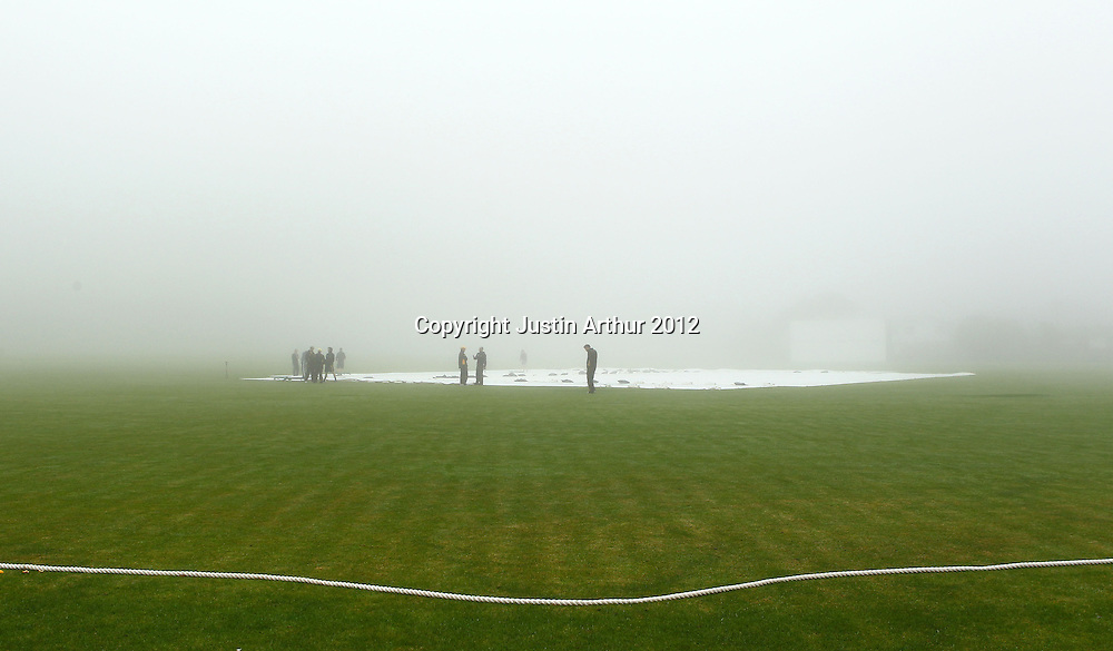 Fog and Rain delays play on day two. Plunket Shield Cricket - Wellington v Northen Districts ,Karori Park, Wellington, New Zealand on Tuesday 18 December 2012. Photo: Justin Arthur / photosport.co.nz