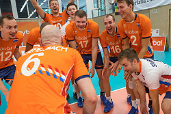 08-09-2018 NED: Netherlands - Argentina, Ede<br /> Second match of Gelderland Cup / Tim Smit #12 of Netherlands, Michaël Parkinson #17 of Netherlands, Wouter ter Maat #16 of Netherlands, Wessel Keemink #2 of Netherlands, Dirk Sparidans #5 of Netherlands
