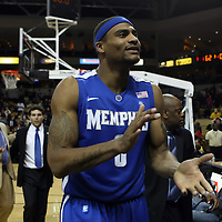 Memphis forward Will Coleman (0) celebrates after winning a Conference USA NCAA basketball game between the Memphis Tigers and the Central Florida Knights at the UCF Arena on February 9, 2011 in Orlando, Florida by a score of 63-62. (AP Photo: Alex Menendez)
