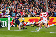 Japan's Ayumu Goromaru denies Scotland a try on the stroke of half time during the Rugby World Cup Pool B match between Scotland and Japan at the Kingsholm Stadium, Gloucester, United Kingdom on 23 September 2015. Photo by Shane Healey.