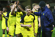 Brewers players celebrate after the final whistle during the EFL Sky Bet Championship match between Barnsley and Burton Albion at Oakwell, Barnsley, England on 20 February 2018. Picture by John Potts.