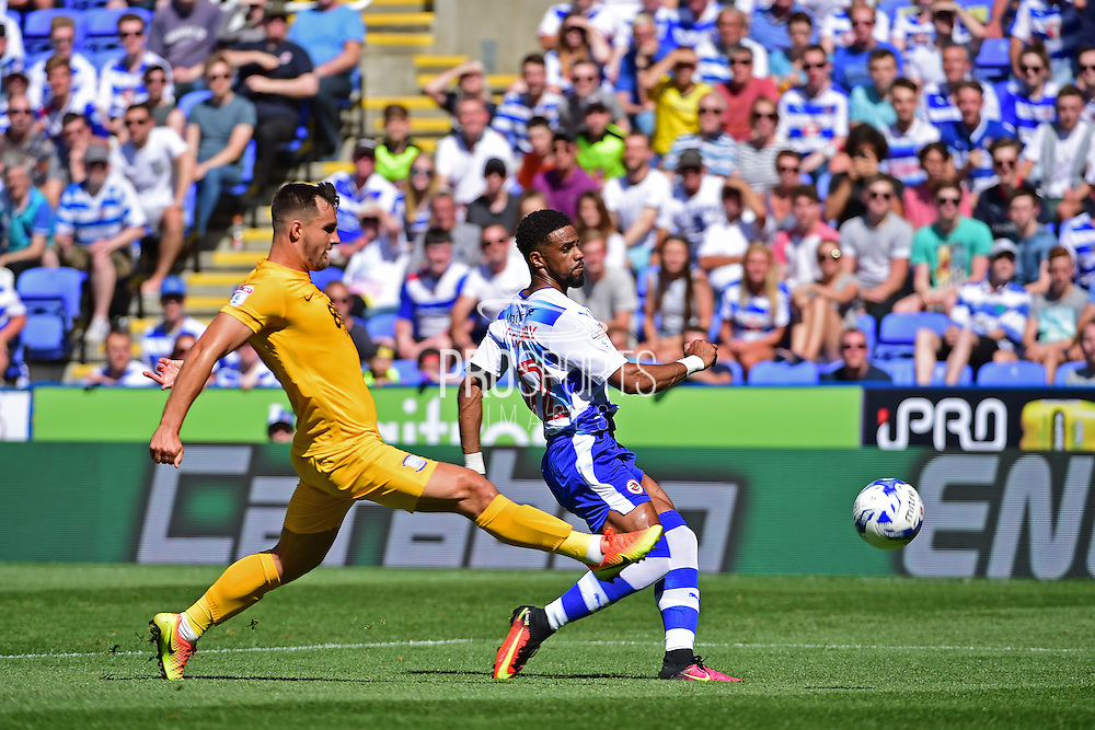 Reading defender Jordan Obita (11) crosses the ball during the EFL Sky Bet Championship match between Reading and Preston North End at the Madejski Stadium, Reading, England on 6 August 2016. Photo by Jon Bromley.