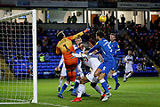 Rochdale goalkeeper Josh Lillis punches this one clear during the EFL Sky Bet League 1 match between Peterborough United and Rochdale at London Road, Peterborough, England on 12 January 2019.