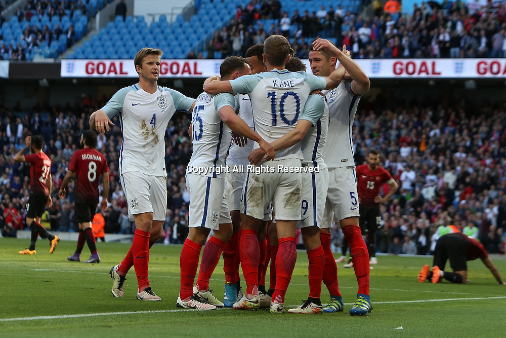 22.05.2016. Etihad Stadium, Manchester, England. International football friendly match, England versus Turkey. England players celebrating Jamie Vardy's goal giving England a 2-1 lead.