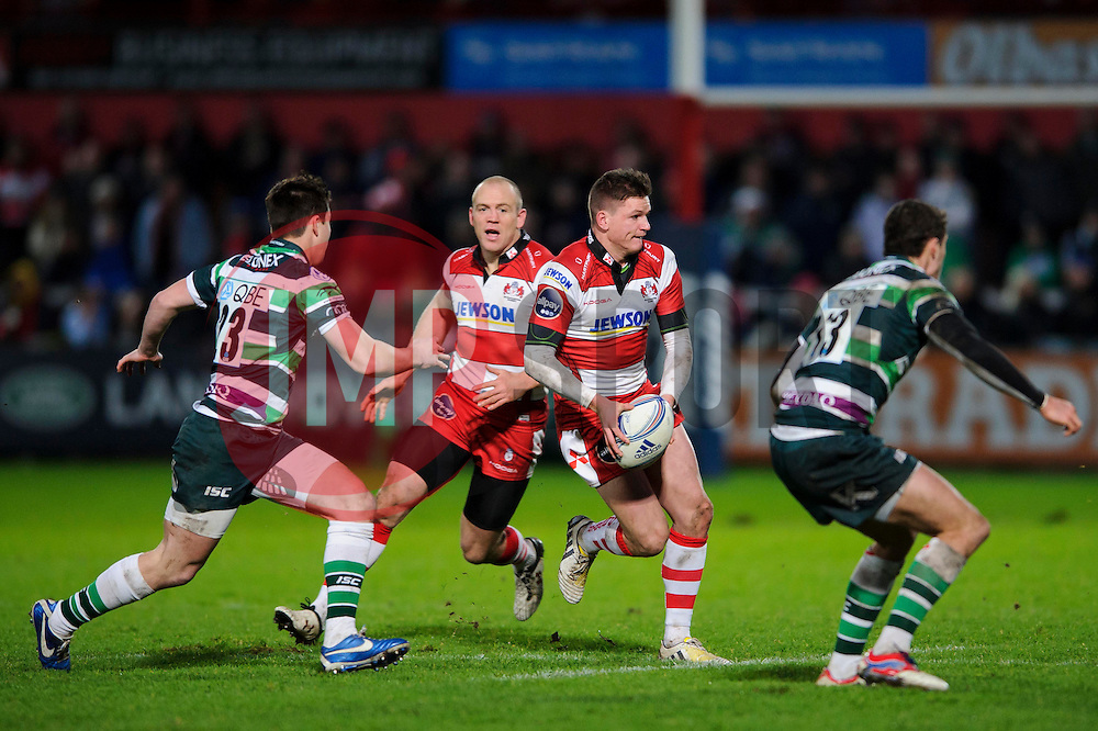 Gloucester Fly-Half (#10) Freddie Burns breaks with Outside Centre (#13) Mike Tindall in support during the second half of the match - Photo mandatory by-line: Rogan Thomson/JMP - Tel: Mobile: 07966 386802 15/12/2012 - SPORT - RUGBY - Kingsholm Stadium - Gloucester. Gloucester Rugby v London Irish - Amlin Challenge Cup Round 4.