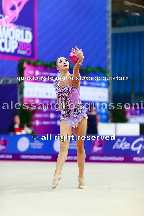 Minagawa Kaho during final at ball in World Cup Pesaro, Adriatic Arena on April 15,2018.  Kaho was born on August 20,1997 in Chiba Prefecture, Japan.