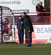 24th February 2018, Dens Park, Dundee, Scotland; Scottish Premier League football, Dundee versus Motherwell; Motherwell boss Stephen Robinson