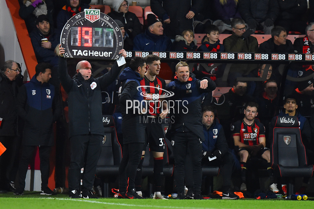AFC Bournemouth manager Eddie Howe talks to Chris Mepham (33) of AFC Bournemouth who came on for his debut during the Premier League match between Bournemouth and Chelsea at the Vitality Stadium, Bournemouth, England on 30 January 2019.