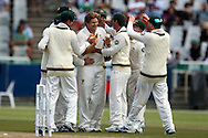 Shane Watson celebrates the wicket of Graeme Smith during the 2nd day of the 1st test match between South Africa and Australia held at Sahara Park Newlands Stadium,Cape Town, South Africa on the 10th November 2011..Photo by Ron Gaunt/SPORTZPICS