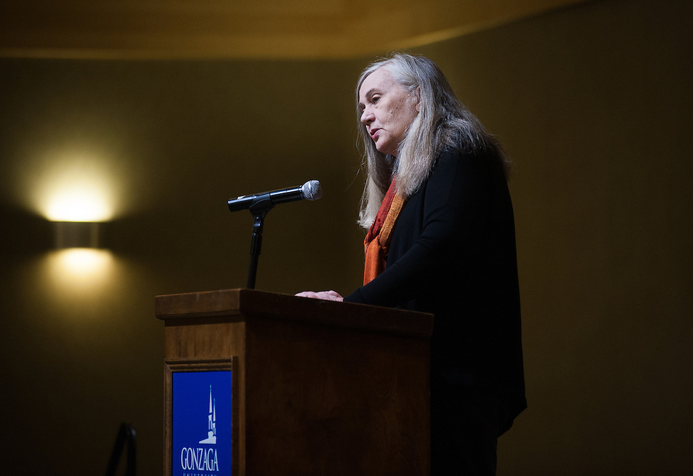 Marilynne Robinson speaks to a full crowd during the Visiting Writers Series in Cataldo Hall. (Photo by Rajah Bose)
