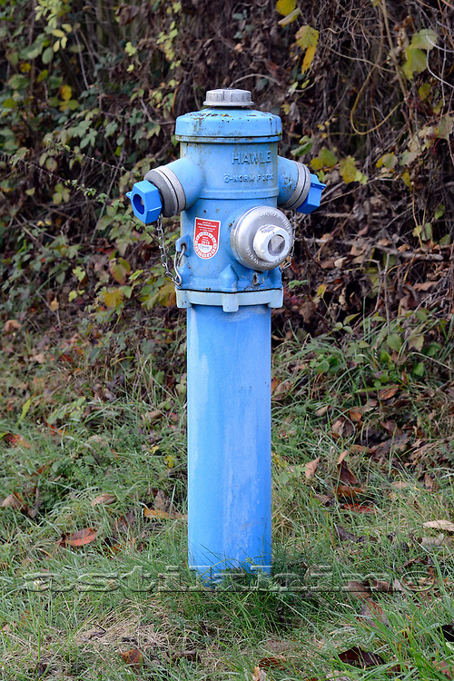 Blue hydrant in Klagenfurt, Austria.