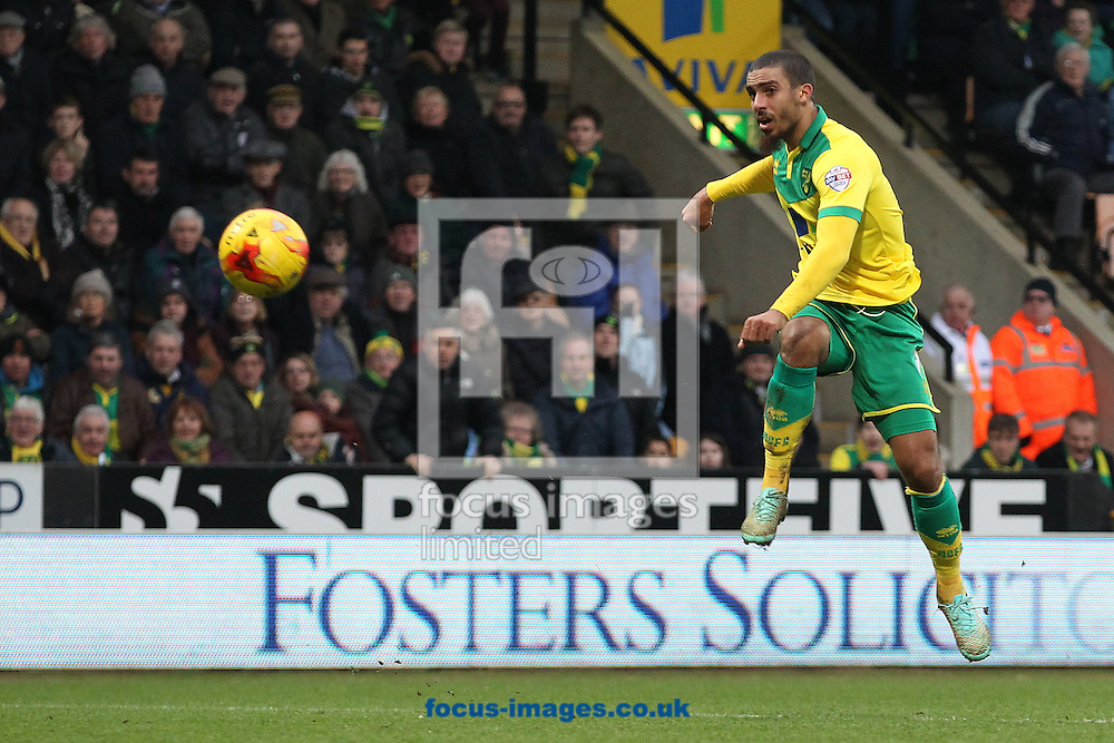 Lewis Grabban of Norwich has a shot on goal during the Sky Bet Championship match at Carrow Road, Norwich<br /> Picture by Paul Chesterton/Focus Images Ltd +44 7904 640267<br /> 14/02/2015