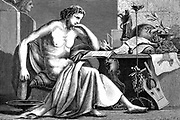Aristotle (384-322 BC) Ancient Greek philosopher and scientist. Aristotle as a young man in his study. Artist's reconstruction; wood engraving c1886