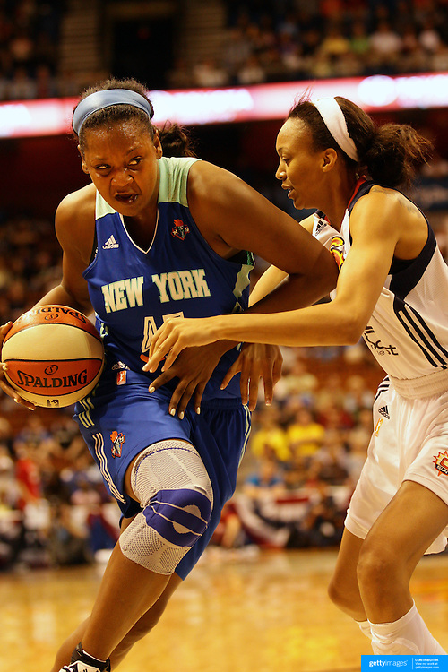 Kara Braxton, New York Liberty, in action during the Connecticut Sun V New York Liberty WNBA pre season game at Mohegan Sun Arena, Uncasville, Connecticut, USA. 11th May 2013. Photo Tim Clayton