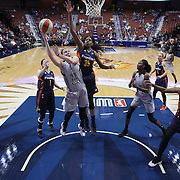 UNCASVILLE, CONNECTICUT- MAY 05:  Samantha Logic #22 of the San Antonio Stars drives to the basket as she is challenged by Jonquel Jones #35 of the Connecticut Sun during the San Antonio Stars Vs Connecticut Sun preseason WNBA game at Mohegan Sun Arena on May 05, 2016 in Uncasville, Connecticut. (Photo by Tim Clayton/Corbis via Getty Images)