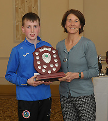 Westport Athletics Awards <br /> Colin Hastings accecpted Team Member of the Year Award from Edel McAllister.<br />Pic Conor McKeown<br /> <br /> Pic Conor McKeown