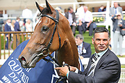 PRECIOUS RAMOTSWE (6) ridden by jockey Rob Havlin and trained by John Gosden in the Winners Enclosure after winning The inaugural running of the Group 3 Al Basti Equiworld Dubai Bronte Cup over 1m 6f (£90,000)at York Racecourse, York, United Kingdom on 26 May 2018. Picture by Mick Atkins.