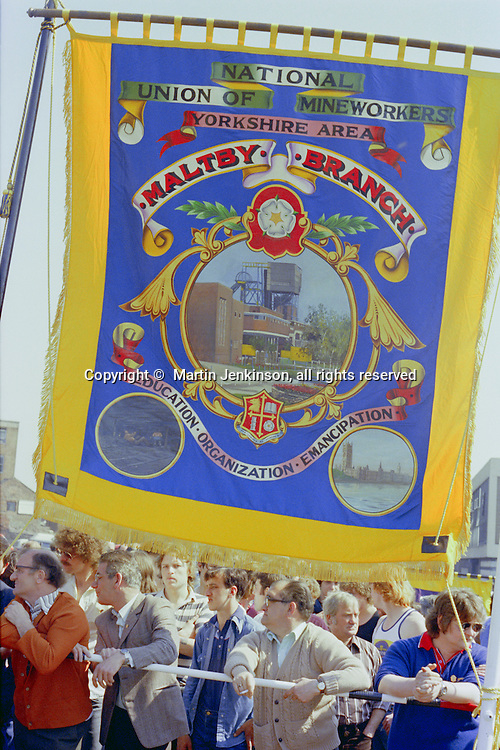Malty Branch NUM banner at the start of a march against anti trade union legislation. Sheffield 1980.