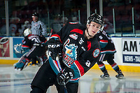 KELOWNA, CANADA - NOVEMBER 15: Jack Cowell #8 of the Kelowna Rockets warms up against the Prince George Cougars on November 15, 2016 at Prospera Place in Kelowna, British Columbia, Canada.  (Photo by Marissa Baecker/Shoot the Breeze)  *** Local Caption ***