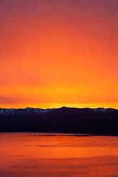 """Sunset at Lake Tahoe 31"" - Photograph of a orange and yellow sunset at Lake Tahoe, shot from near the fire lookout above Crystal Bay."