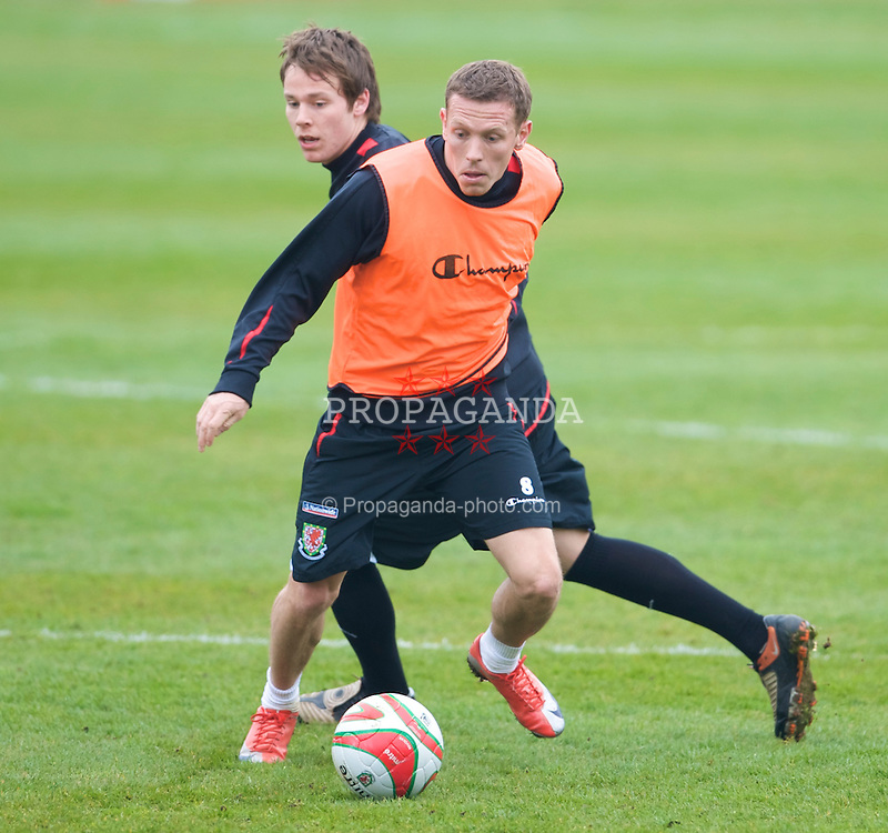 CARDIFF, WALES - Tuesday, March 31, 2009: Wales' captain Craig Bellamy and Chris Gunter during training at the Vale of Glamorgan ahead of the 2010 FIFA World Cup Qualifying Group 4 match against Germany. (Pic by David Rawcliffe/Propaganda)