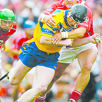 14 August 2005; Niall Gilligan, Clare, is tackled by Diarmuid O'Sullivan, Cork. Guinness All-Ireland Senior Hurling Championship Semi-Final, Cork v Clare, Croke Park, Dublin. Picture credit; Ray McManus / SPORTSFILE