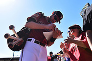 SCOTTSDALE, AZ - FEBRUARY 25:  A.J. Pollock #11 of the Arizona Diamondbacks signs an autograph for a fan prior to the spring training game against the Colorado Rockies at Salt River Fields at Talking Stick on February 25, 2017 in Scottsdale, Arizona.  (Photo by Jennifer Stewart/Getty Images)