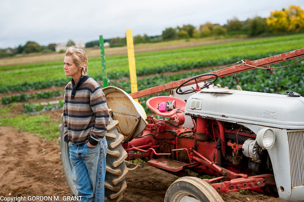 Marilee Foster, a farmer, in the field at The Organic Farm, a farm in Bridgehampton,  being used by the Hain Celestial company for it's line of BluePrint juices, <br /> <br /> by Gordon M. Grant