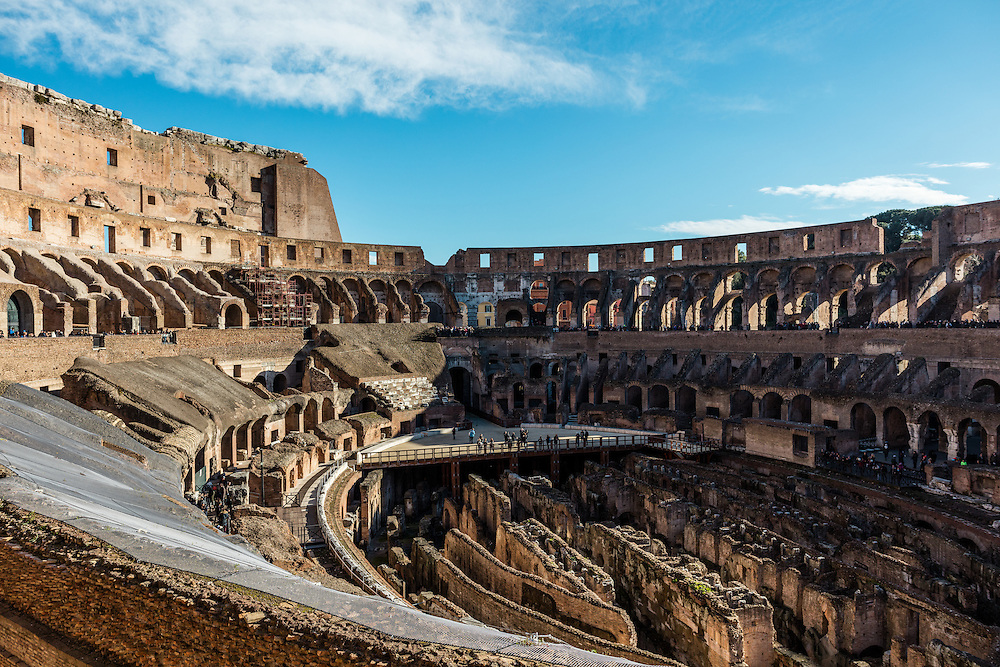 Inside the largest remaining Roman Coliseum located in Rome, Italy.  This is the very coliseum built for the 100 days of games referred to in the Hollywood blockbuster Gladiator.
