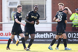 Cheyenne Dunkley of Wigan Athletic celebrates with teammates after scoring a goal to make it 4-0 - Mandatory by-line: Robbie Stephenson/JMP - 21/04/2018 - FOOTBALL - Highbury Stadium - Fleetwood, England - Fleetwood Town v Wigan Athletic - Sky Bet League One