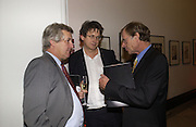 James Hughes-Onslow, Alan Rusbridger and Trevor Grove. . U.K. Press Gazette's 40 th birthday. National Portrait Gallery. London.   November 22 November 2005. ONE TIME USE ONLY - DO NOT ARCHIVE  © Copyright Photograph by Dafydd Jones 66 Stockwell Park Rd. London SW9 0DA Tel 020 7733 0108 www.dafjones.com