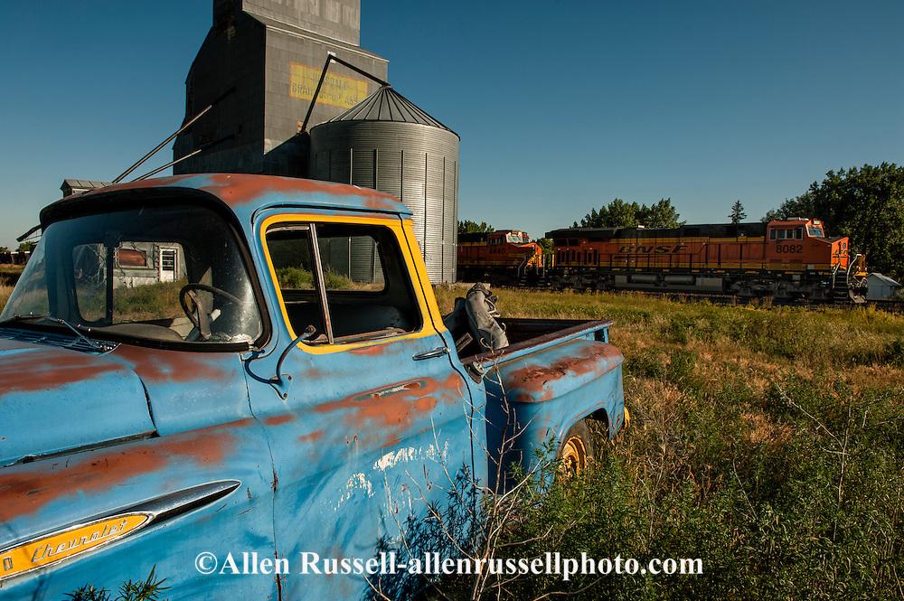 Hinsdale Montana, 1949 Chevrolet 3100 Pickup, Burlington Northern Santa Fe Train, railroad