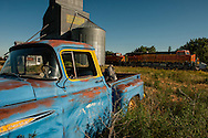 Hinsdale Montana, 1949 Chevrolet 3100 Pickup, Burlington Northern Santa Fe Train, railroad