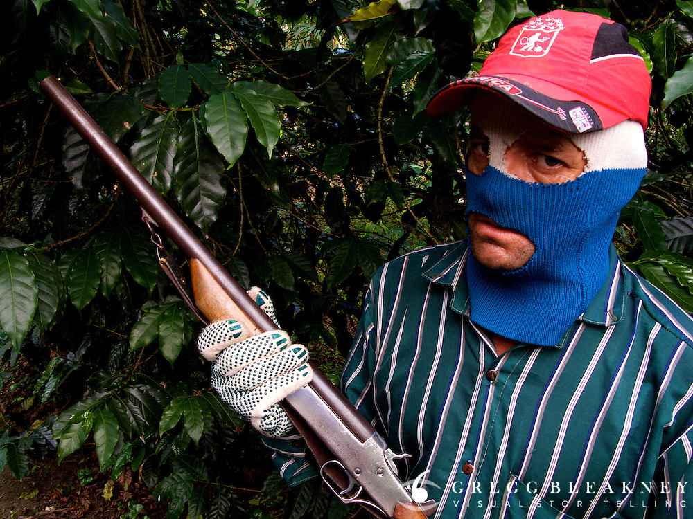 In many of Colombia's larger coffee plantations, former paramilitary men have found new work as security guards. Zona Cafeteria - Colombia