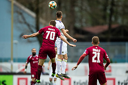 Aleš Mertelj of Triglav vs Jan Mlakar of Maribor during Football match between NK Triglav and NK Maribor in 25th Round of Prva liga Telekom Slovenije 2018/19, on April 6, 2019, in Sports centre Kranj, Slovenia. Photo by Vid Ponikvar / Sportida