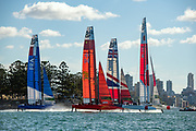 Japan SailGP Team skippered by Nathan Outteridge lead off the start of race two on day one of competition. Event 1 Season 1 SailGP event in Sydney Harbour, Sydney, Australia. 15 February 2019. Photo: Chris Cameron for SailGP. Handout image supplied by SailGP