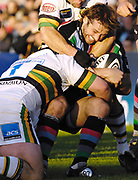 Twickenham. GREAT BRITAIN,  Quins Andy GOMERSALL, is caught with theball during the, Guinness Premiership game between, NEC Harlequins and Northamption Saints, on Sat., 04/11/2006, played at the Twickenham Stoop, England. Photo, Peter Spurrier/Intersport-images].....