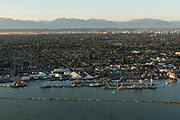 Aerials of Steveston, Richmond, BC at sunset