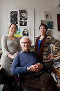 Cinematographer Albert Maysles and his daughters at his Harlem office .from left to right:.Sara Maysles.Albert Maysles .Rebekah Maysles ..- Albert Maysles and his brother David Maysles became famous for their documentary films like Grey Gardens, Salesman, Meet Marlon Brando and Gimme Shelter, the landmark documentary about the Rolling Stones on their notorious 1969 US tour. The Maysles Brothers also collaborated with Christo and Jeanne-Claude on many of their films. Today Albert Maysles works on new projects with the help of his daughters Sara and Rebekah Maysles. The company, named Maysles Films, is located in Harlem...©Stefan Falke..