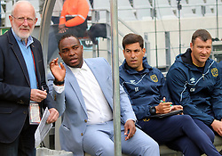 PSL COO Ronnie Schloss, Cape Town City head coach Benni McCarthy, assistant coach Ian Taylor and goalkeeper coach Calvin Marlin in the MTN8 match vs Polokwane City at the Cape Town Stadium on August 12, 2017 in Cape Town, South Africa.