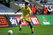 AFC Wimbledon striker Lyle Taylor (33) on the attack during the EFL Sky Bet League 1 match between Coventry City and AFC Wimbledon at the Ricoh Arena, Coventry, England on 28 September 2016. Photo by Stuart Butcher.