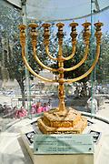 Israel, Jerusalem, Old City, Replica of the Golden temple Menorah